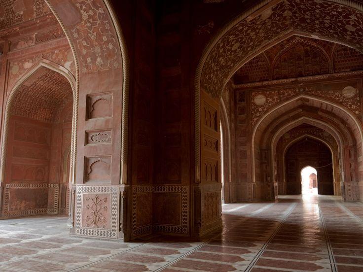 Mosque Detail: Taj Mahal, India, Mosque, Interior Column Detail