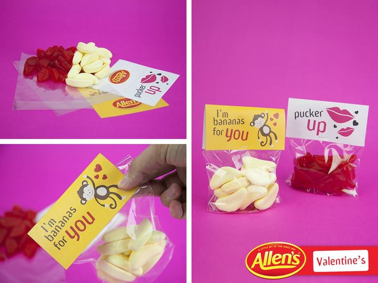 Share a Valentine's Day gift bag with the one you love, with their favourite ALLEN'S lollies. We've used Bananas and Lips