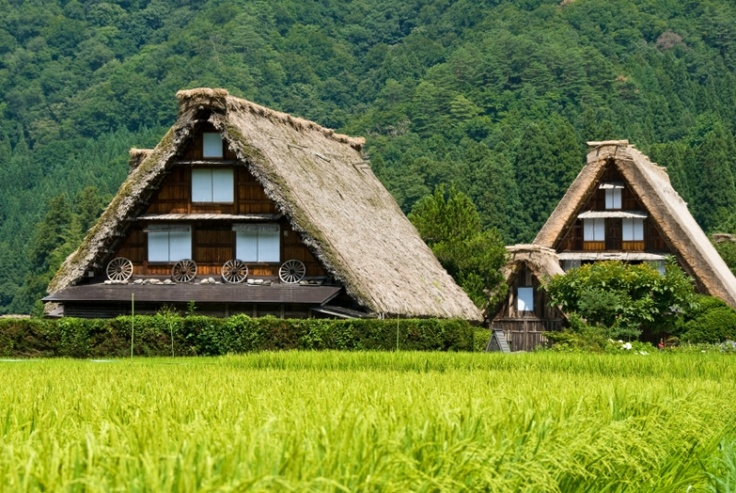 Gasshō-zukuri is a style of traditional dwelling in the small village of Shirakawa.