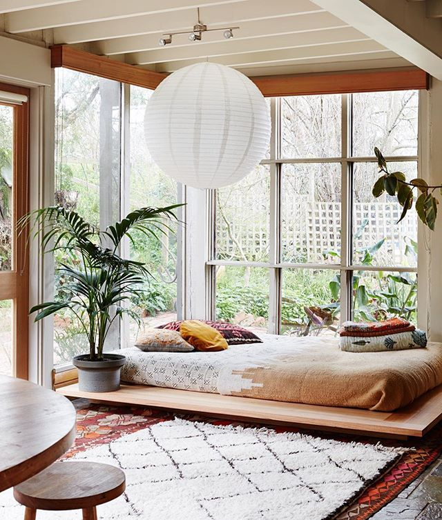 Space bedroom zone in living room with good view- also an interior deck for yoga by day...?