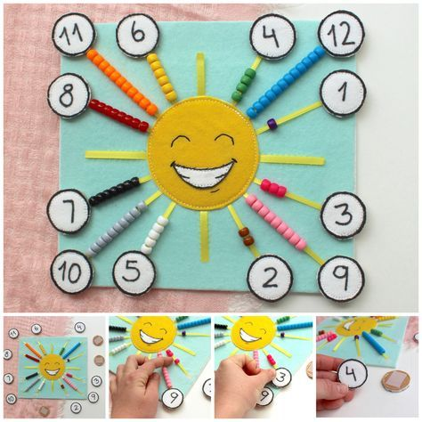 Happy Sun Counting and Color Sorting Quiet Page, count 1-10 quiet page, count 1-12 quiet book, Monte