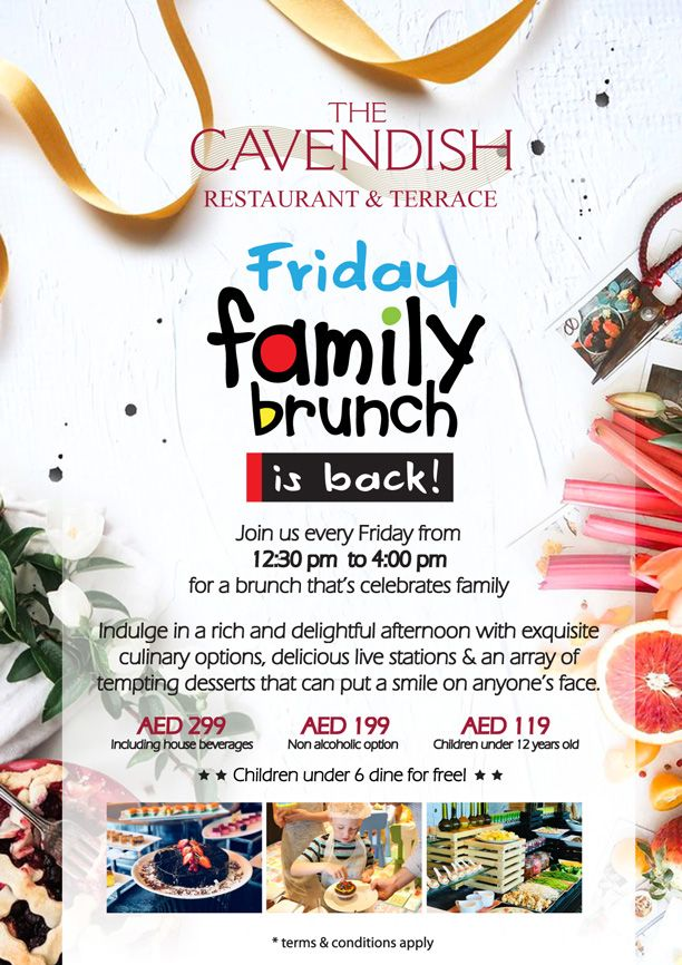 Don't miss our Family Friday Brunch! Every Friday from 12.30 p.m. - 4 p.m. with packages starting from AED 119 pp.