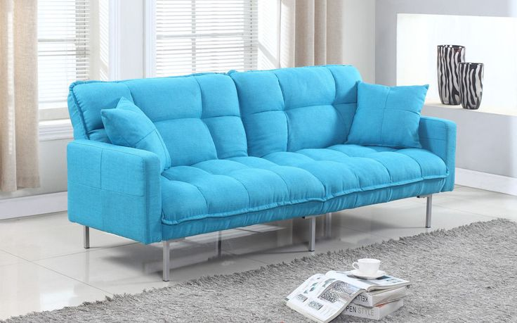 Plush Modern Tufted Futon Living Room Sleeper Splitback Linen Fabric Study Blue  #CasaAndreaMilano
