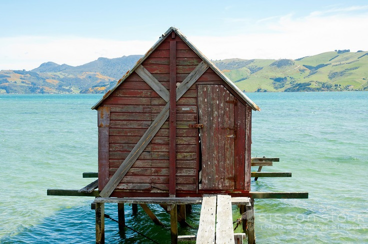 Otago Harbour, Dunedin South Island NZ. Rustic red boatshed Otago peninsula
