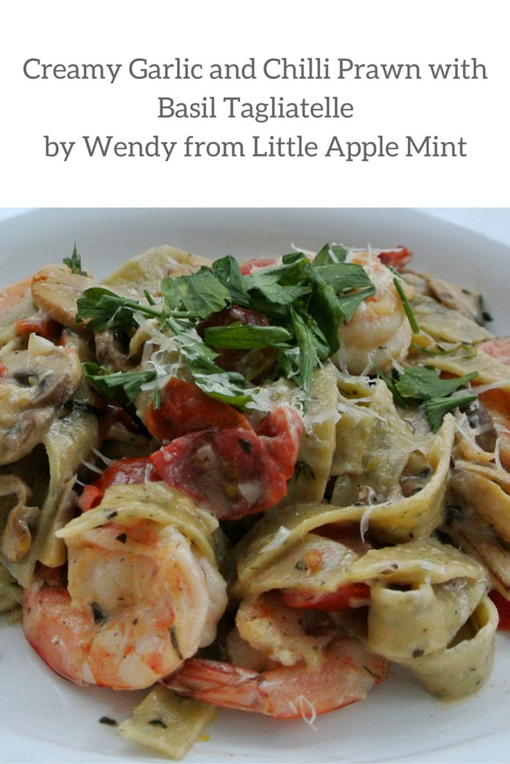 Creamy garlic prawns with chilli and basil tagliatelle for dinner tonight. Angelo's Pasta's feature foodie, Wendy from Little Apple Mint created this mouth watering meal. Easy to make this seafood pasta will receive rave reviews from everyone!