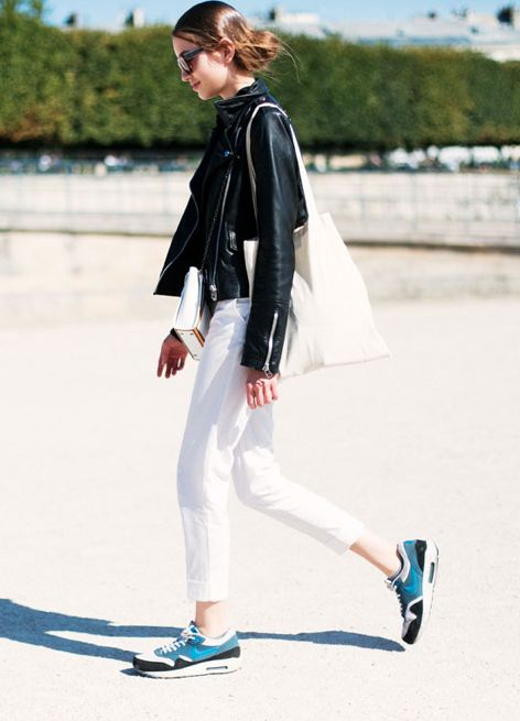 I'm not much for sneakers but this works.  White jeans + black moto + colorful sneakers.
