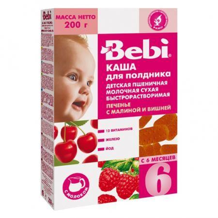 Bebi Молочная Пшеничная каша печенье с малиной и вишней с 6 мес. 200 г  — 160р.   Пшеничная молочная каша Печенье с малиной и вишней обогащена железом, йодом, важнейшими витаминами (A, C, E, D, К, витамины группы В). Железо участвует в процессах кроветворения и переноса кислорода к клеткам и тканям организма, а йод важен для умственного развития и роста детей. Злаки являются богатейшим источником энергии. Пшеница укрепляет защитные силы организма благодаря витаминам А, В, С D, Е и…
