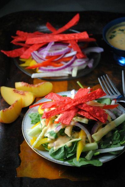 jicama tortilla salad with peach dressing: Jícama Tortilla Salad, Peach Dressing Looks, Jicama Tortilla Salad, Food Salads, Food Drink, Peaches, Tortillas