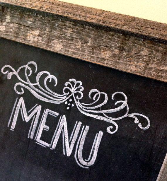 Chalkboard Menu  Chalkboard Sign  Rustic Wedding by LilyandVal, $75.00