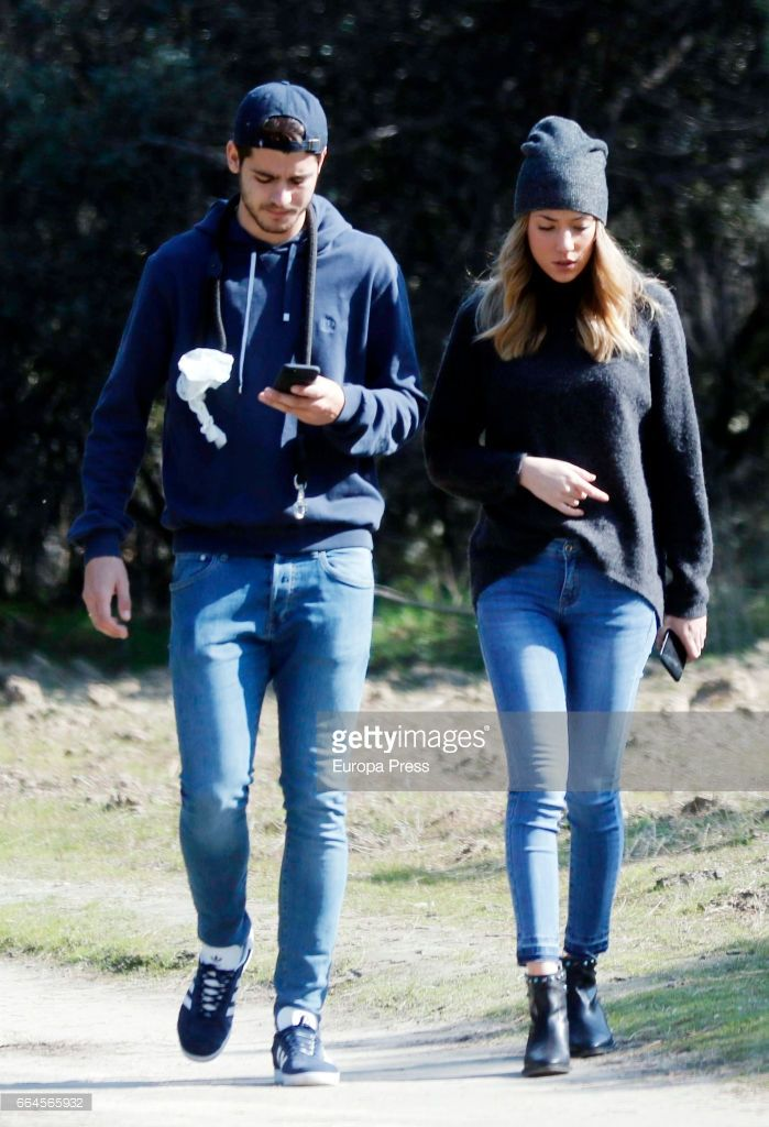 Real Madrid football player Alvaro Morata and his girlfriend Alice Campello are seen on February 19, 2017 in Madrid, Spain.