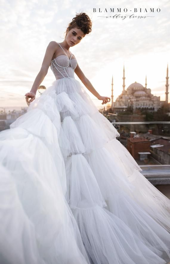 Haute couture A-line floaty silk wedding dress LIAM with long train by BLAMMO-BIAMO • Luxury wedding