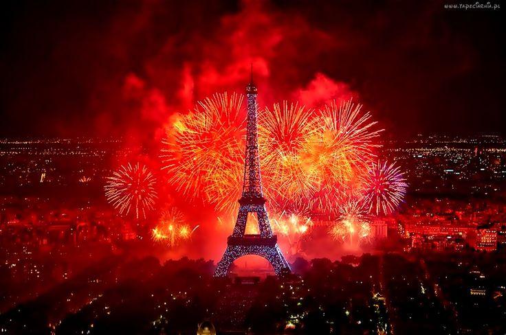 Paryż, Nocą, Fajerwerki, Wieża Eiffla, Francja