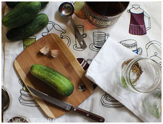Maple whiskey pickle prep: click for version 2.0 of my (in)famous maple-whiskey pickle recipe!