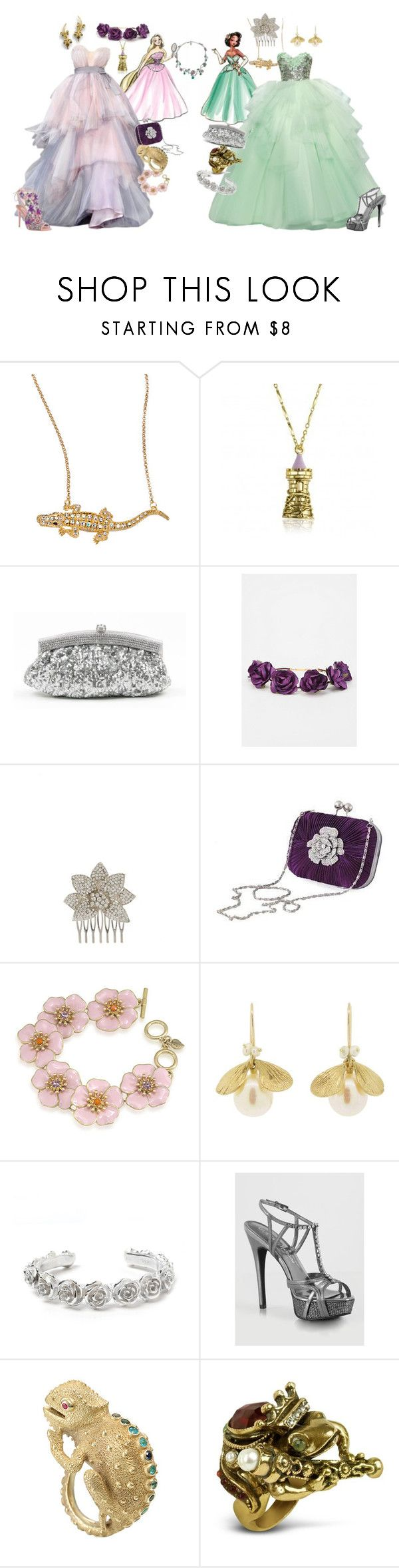 """Rapunzel & Tiana"" by faleur102 ❤ liked on Polyvore featuring Disney, Andrew Hamilton Crawford, Disney Couture, Cult Gaia, Moonbeam, Carolee, Annette Ferdinandsen, LeiVanKash, GUESS by Marciano and Valentino"