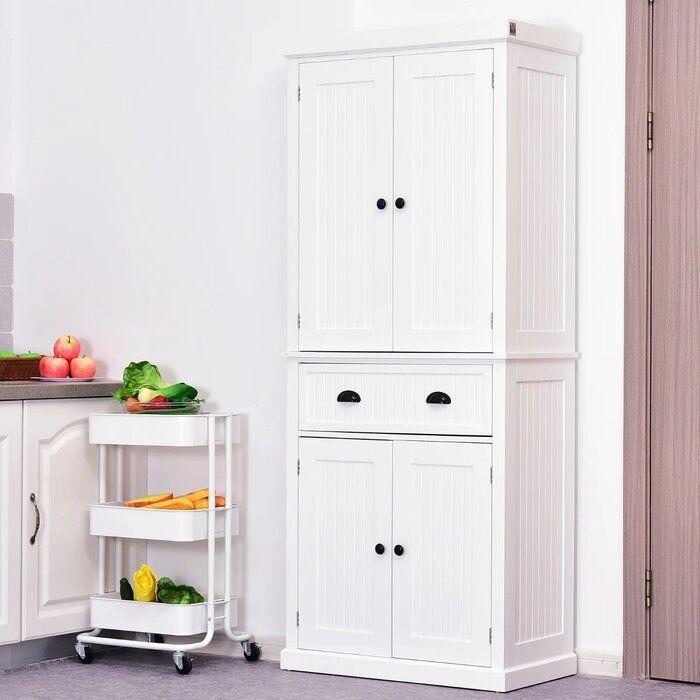 Gracie Oaks Stahl 72 Kitchen Pantry Reviews Wayfair In 2020 Kitchen Pantry Cupboard Kitchen Pantry Cabinets Freestanding Kitchen