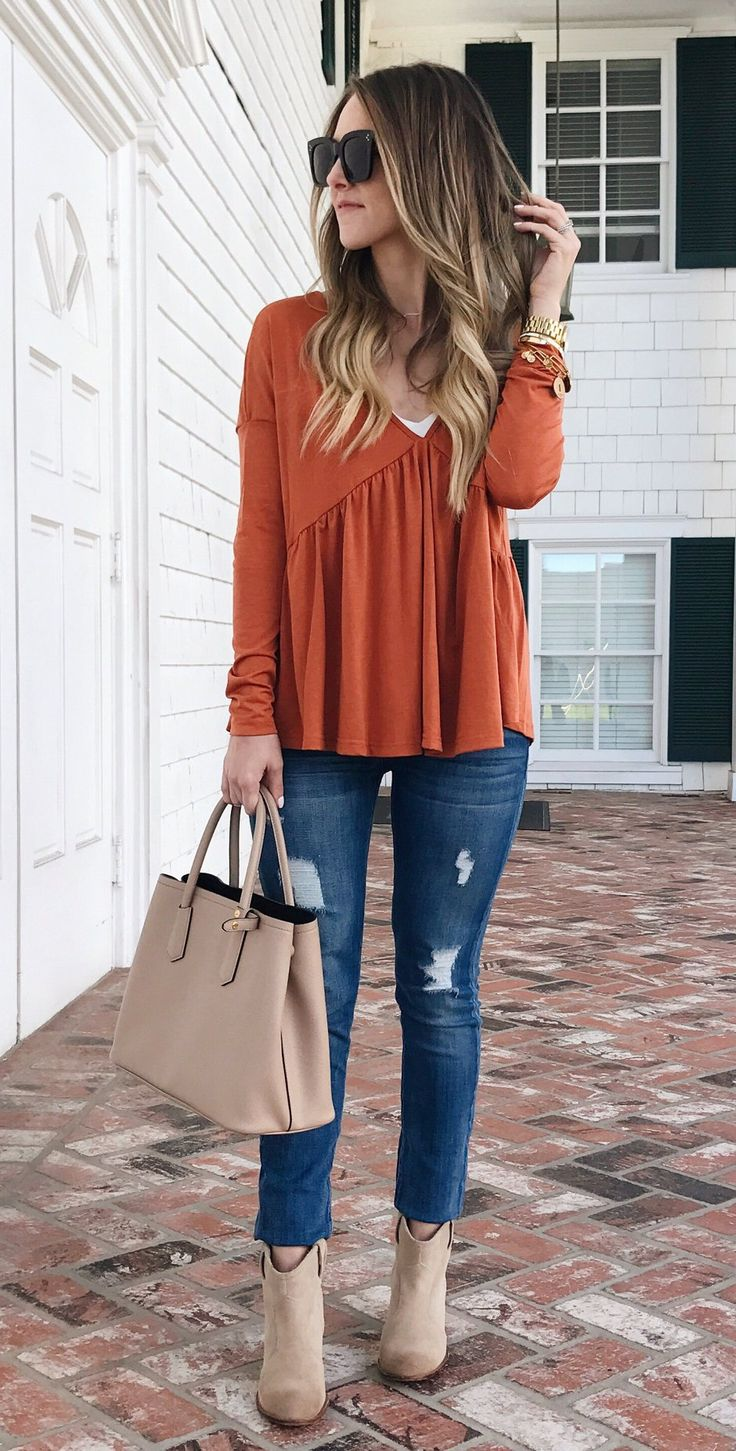 spring fashion Orange Top / Ripped Skinny Jeans / Beige Suede Booties