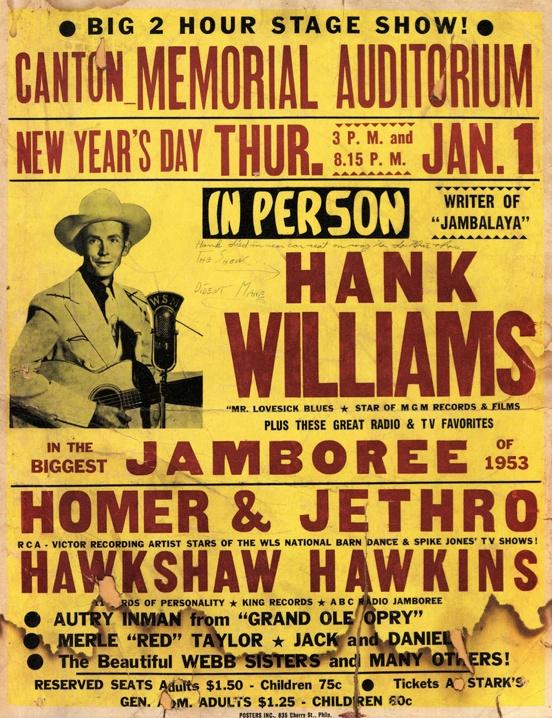 Hank Williams concert poster