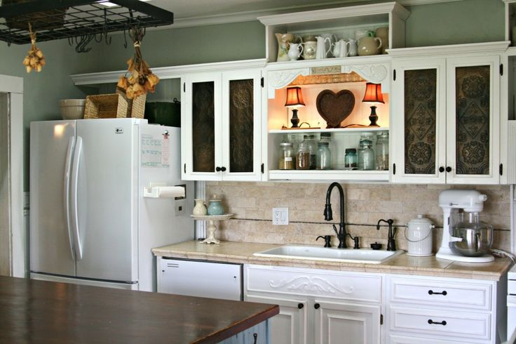 Kitchen, Minimalist Neutral Kitchen Design With Side By Side Refrigerator With Bottom Freezer Also With A Single Sink And Granite Countertops Also With Wooden Chest Of Drawers And Washbasin And Faucets: Awesome Uniquely Kitchen Cabinet Styles
