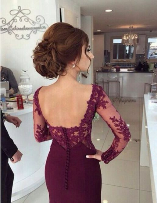 2015 Mermaid Burgundy Prom Dresses with See Through Long Sleeves Sweetheart Lace…