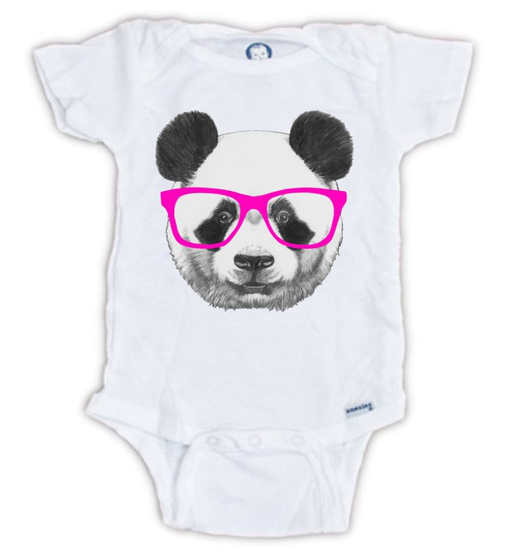 Cute Panda Nerd Onesie - Hipster Baby Onesie, Baby Onesie, Body Suit, Panda Onesie, Nerd Onesie, Cute Panda, Baby Panda Onesie