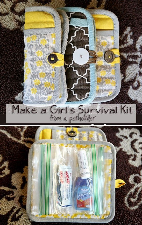 "Use for personal first aid.  Or toiletries as service project.  DIY ""emergency clutch"" from a potholder  zip lock bags."