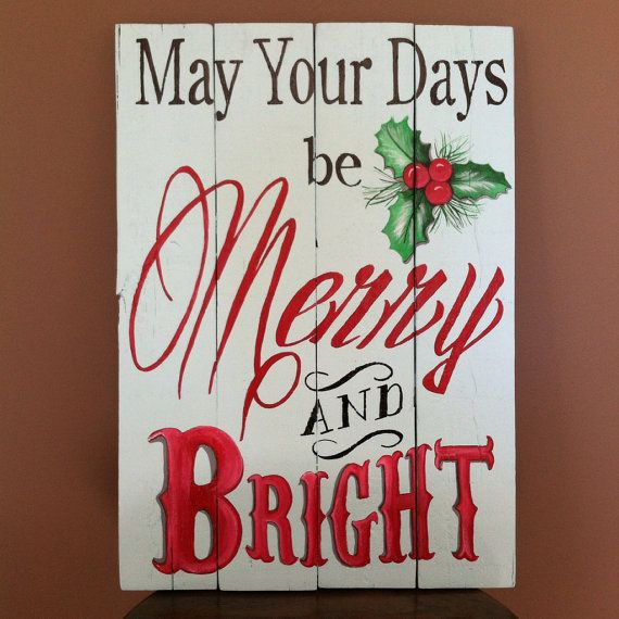 Christmas indoor outdoor sign on recycled pallet wood 20 X 14