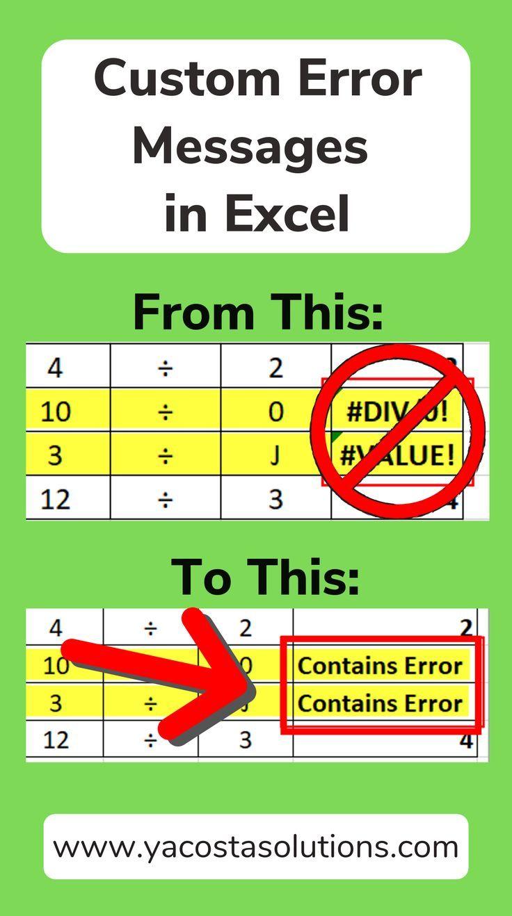Create Custom Error Messages In Excel Using Iferror Tutorial Microsoft Excel Tutorial Excel Formula Excel Shortcuts