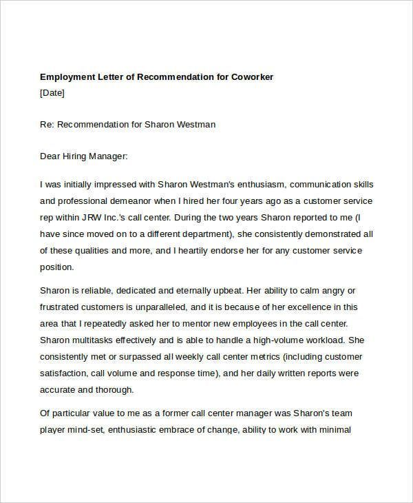 Free Letter Of Recommendation For Coworker Teacher Letter Of
