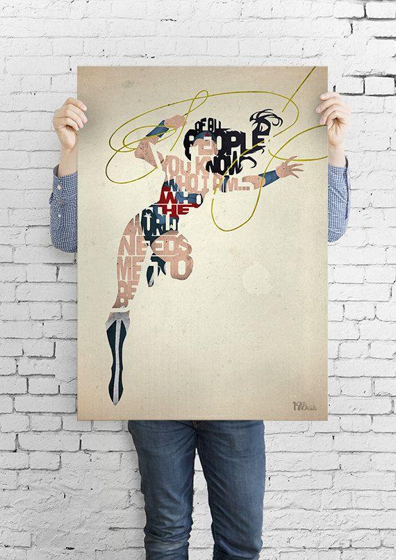 Wonder Woman Typografie Kunst Drucken Poster auf ein von 17thandOak, £3.00