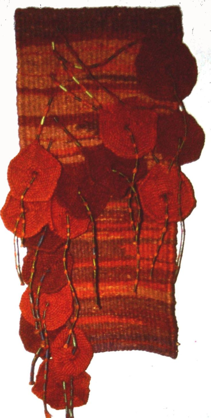 "Jan Cook. Woven and crocheted dyed jute. .""24 x 28 inches"