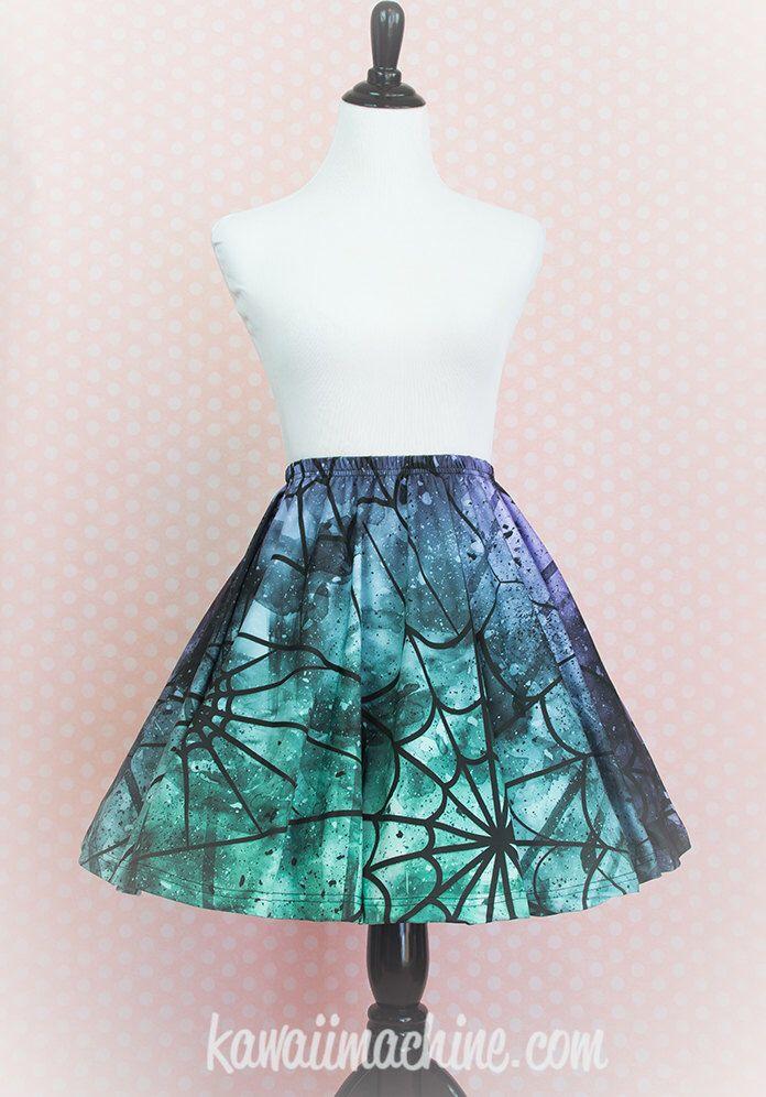 Spider Queen Spiderweb Skater Skirt Fairy Kei Pastel Goth Kawaii by thekawaiimachine on Etsy https://www.etsy.com/listing/232060210/spider-queen-spiderweb-skater-skirt