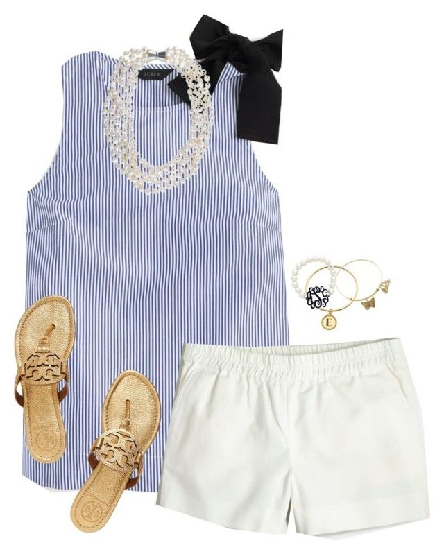 """""""Summer Please"""" by sc-prep-girl ❤ liked on Polyvore featuring J.Crew, Tory Burch and Lisa Stewart"""