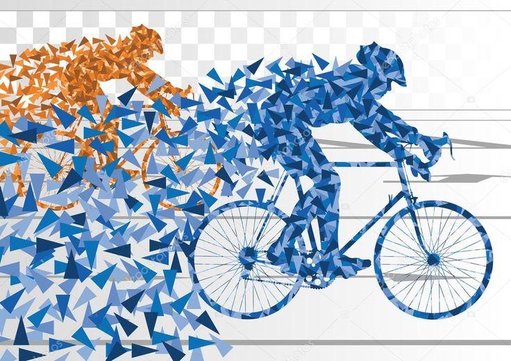 Baixar - Silhueta de bicicleta de piloto esporte estrada bicicleta em plano de estrada urbana da cidade — Ilustração de Stock #8599838