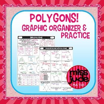 Two pages of introduction to polygon vocabulary, interior angle sum, exterior angles, naming, and parts of the polygon.  Twelve practice problems involve solving from variables, determining the number of sides of a polygon, and finding interior and exterior angles.