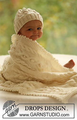 Free knitting pattern for cable baby set with baby hat and baby blanket