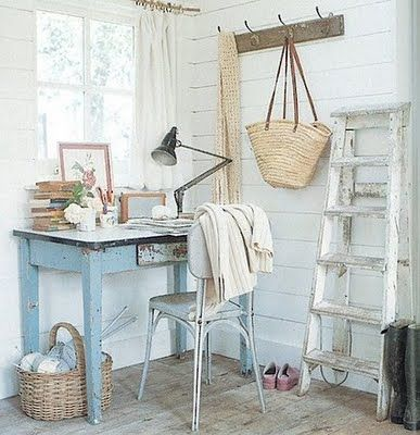 Atlanta Bartlett...love that blue table against the white and tan.