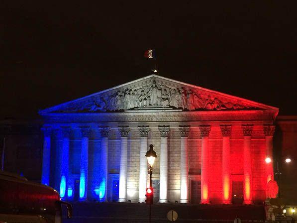 L' Assemblée nationale en bleu, blanc, rouge http://www.pariscotejardin.fr/2015/11/l-assemblee-nationale-en-bleu-blanc-rouge/