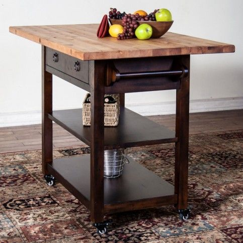 Santa Fe Butcher Block Table With Drop Leaf $823