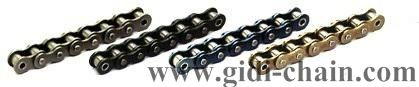 motorcycle roller chains are made of select alloy steel, and have been undergone strict heat treatment and pre-lubed with special formulated chain oil.  http://www.gidi-chain.com/Transmission-Chain.htm