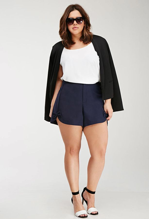 Plus Size FOREVER 21+ Bow-Front Shorts