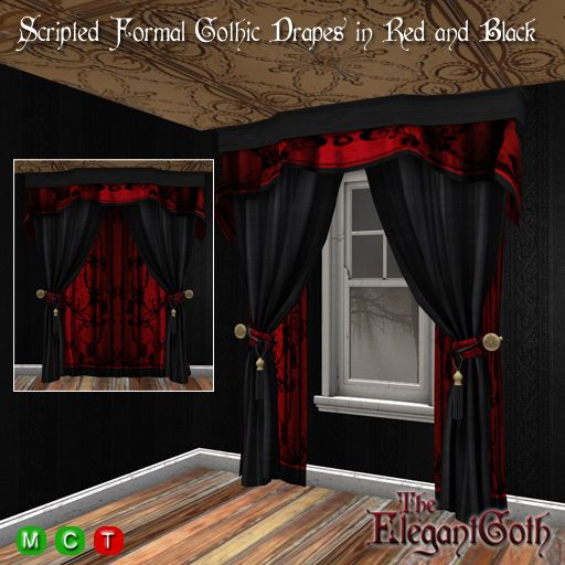 Scripted Open/Close Formal Gothic Drapes in Red and Black