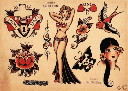 Sailor Jerry flower, and skull butterfly