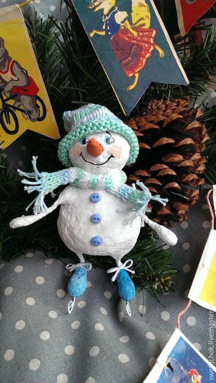 Купить Снеговуня - белый, зима, снеговик, Новый Год, снеговичок, ёлочная игрушка, папье маше