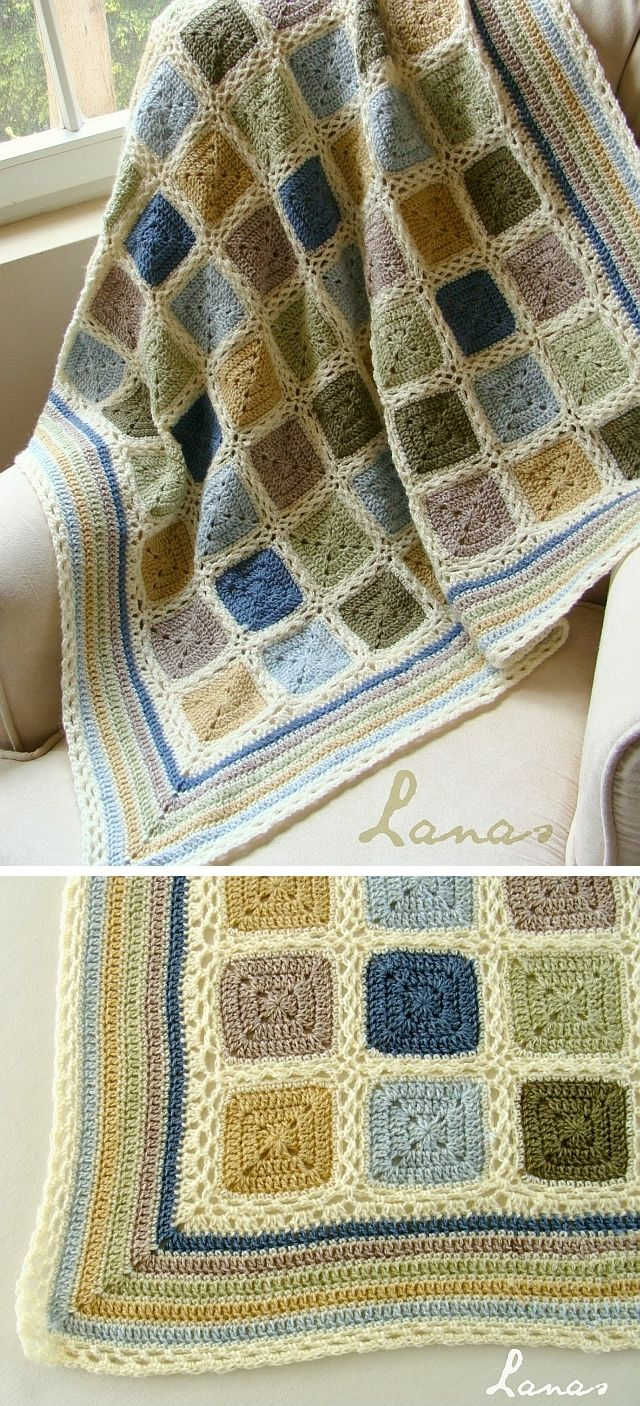 Inspiration :: Beautiful baby blanket in soft alpaca earthtones of country blue, light blue, beige, wheat yellow, olive green, & pale green.  All joined with cream using flat braid join. Square motifs worked with a 4mm hook are framed with 1 row of SC's in cream. Border is DC stripes in all colors, alternated with SC rows in cream.  . . . .   ღTrish W ~ http://www.pinterest.com/trishw/  . . . .   #crochet #afghan #throw #edging