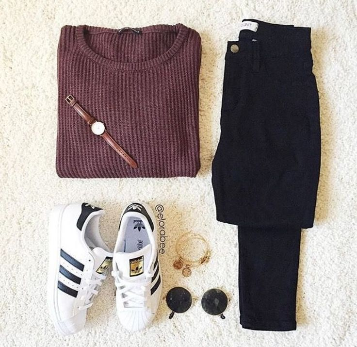 Burgundy sweater, black jeans, adidas superstars
