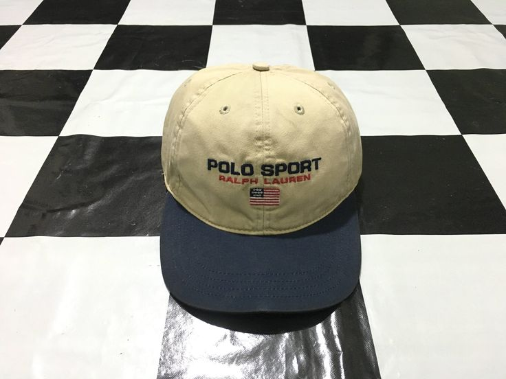 Vintage Polo sport cap spell out flag logo strapback two tone cap Beige Navy Excellent condition Polo Sport Ralph Lauren by AlivevintageShop on Etsy