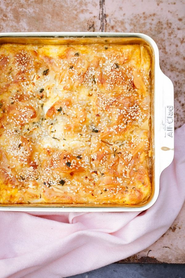 """Old rag pie: think """"Greek cheesecake"""" made with frozen filo, cheese, and honey"""