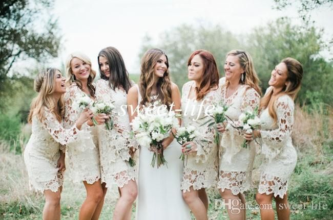 Hippie Style Bridesmaid Dresses 2015 Cheap Long Sleeve Ivory Lace Knee Length Plus Size Bohemian Wedding Guest Party Maid Of Honor Dresses Black Junior Bridesmaid Dresses Bridesmaid Dress Colours From Sweet Life, $114.45  Dhgate.Com
