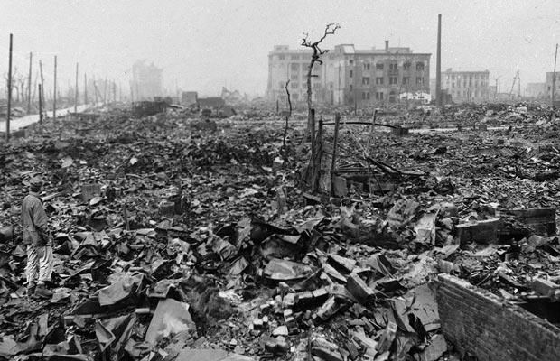 In this 1945 file photo, twisted metal and rubble marks what once was Hiroshima, Japan's most industrialized city, seen some time after the atom bomb was dropped.