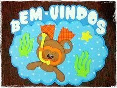 """Lindo cartaz feito em EVA para decoração da sala de aula com o tema: """"Bem-Vindos"""" - Ursos Fundo do Mar.    Lindo para sua sala decorar a porta da sua sala!    Tenho outros painéis do mesmo e de outros temas! Veja mais neste link: http://www.elo7.com.br/sala-de-aula/al/6EB65    DICA:  Você pode ad..."""